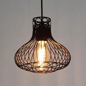 10'' Wide Matte Black Vintage 1 Light Cage Mini Pendant