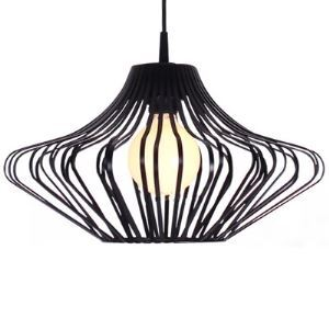 Matte Black  1 Light Pendant with Schoolhouse Metal Guard