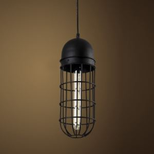 Black Finished Mini Pendant Lighting with Wire Guard