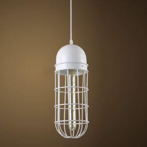 5'' Wide White Finished Birdcage Single Light Mini-Pendant