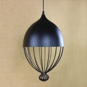 Pewter Finished 1 Light Pendant Light with Wrought Iron Shade