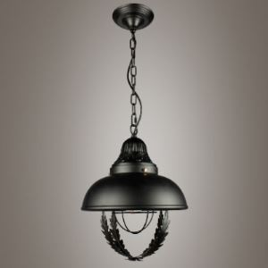 Industrial Pendant Light in Black with Leaf Accents