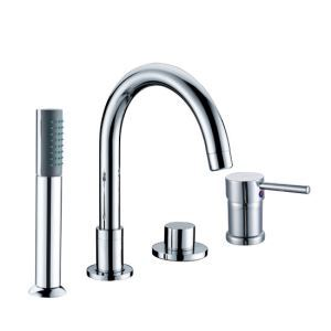 Chrome Finish Two Handles Widespread With Brass Handled Shower Head Tub Faucet