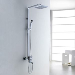 Color Changing LED Shower Faucet with 8 inch Shower Head and Hand Shower