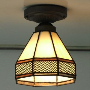 5 Inch Mini Tiffany Stained Glass Style Semi Flush Mount Ceiling Light in Cone Shape