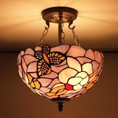 Pink and purple stained glass butterfly design 12 inch Stained glass bathroom light fixtures