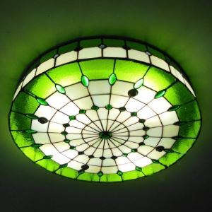 3-light Round Shade 16 Inch Stained Glass Tiffany Flush Mount Ceiling Light