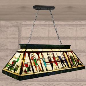 Fancy Hand-made Stained Glass Tiffany Four-light Pool Table Pendant Lighting