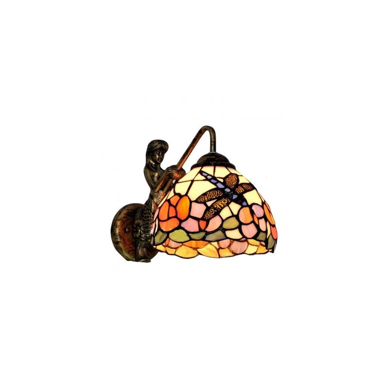 Image of 10' High 12' Wide Single Light Tiffany Glass Shaded Mermaid Wall Sconce