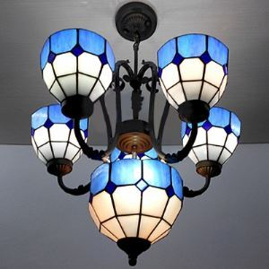 Center Bowl 22 Inch Chandelier Ceiling Lighting in Tiffany Blue Stained Glass Style