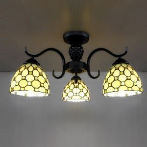 Black Finished Beige Stained Glass Tiffany Three-light Chandelier