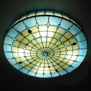 16 Inch Blue Stained Glass Tiffany 3-light Flush Mount Ceiling Light Round Shade