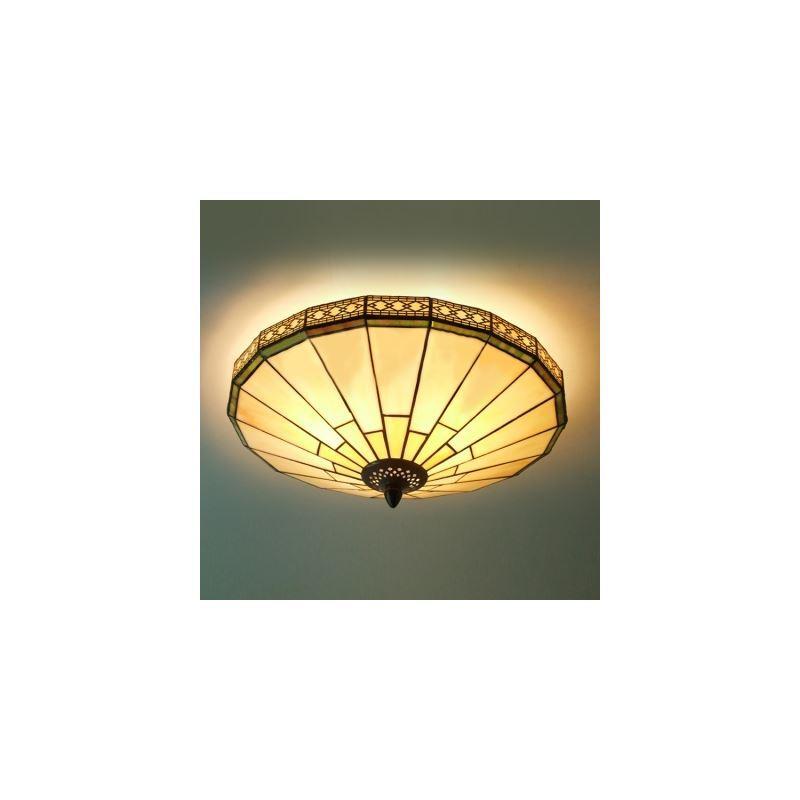 green mission pattern 16 inch flush mount ceiling light in. Black Bedroom Furniture Sets. Home Design Ideas