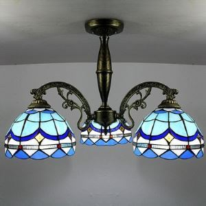Tiffany Stained Glass Style Mediterranean Blue Bowl Shade 23 Inch Chandelier