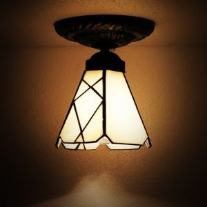 Mini White Glass Tiffany Semi Flush Mount Ceiling Light
