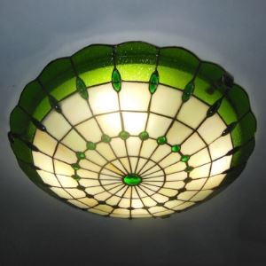 Green Color 12 Inch Flush Mount Ceiling Light in Tiffany Stained Glass Style