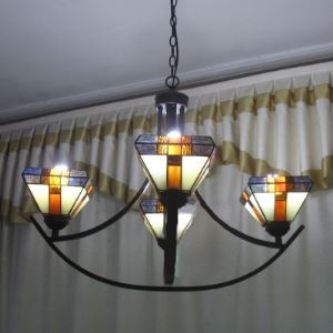 Four-light Black Armed Stained Glass Tiffany Chandelier with Up Light