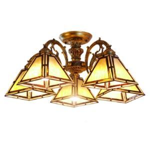 Five-light Bronze Armed Beige Stained Glass Tiffany Chandelier with Cone Shade
