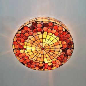 Round Shade Four Lighted Shell Made Tiffany Flush Mount Ceiling Light