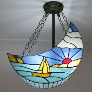 Moon Shade Blue Boat Stained Glass Tiffany 2-light Pendant Chandelier
