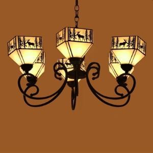 Lodge Elk Pattern 31 Inch SIx-light Chandelier in Tiffany Stained Glass Style
