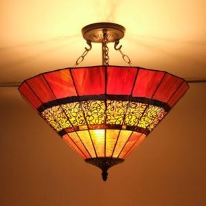 Umbella ShaDe Stained Glass Tiffany Three-light Semi Flush Mount Ceiling Light