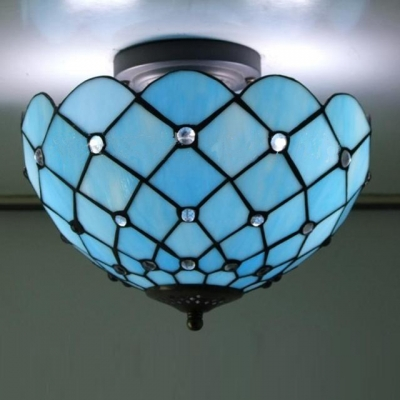 Mediterranean Sea Blue Pattern 12 Inch Semi Flush Mount