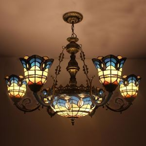 Arabic Style Bronze Finished Blue Stained Glass Tiffany 6-light Chandelier with Center Bowl