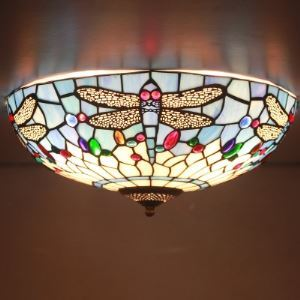 Fancy Stained Glass 16 Inch Wide Tiffany Flush Mount Ceiling Light with Dragonfly Pattern