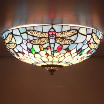 Tiffany flush mount fancy stained glass 16 inch wide tiffany flush tiffany flush mount fancy stained glass 16 inch wide tiffany flush mount ceiling light with dragonfly pattern aloadofball Choice Image