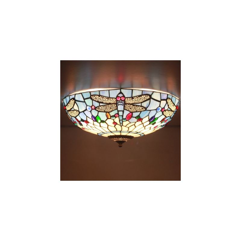 Tiffany flush mount fancy stained glass 16 inch wide tiffany flush tiffany flush mount fancy stained glass 16 inch wide tiffany flush mount ceiling light with dragonfly aloadofball Gallery
