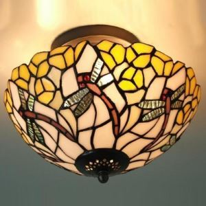 Upward Bowl Shade 10 Inch Wide Tiffany Semi Flush Mount Ceiling Light with Dragonfly Pattern