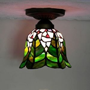 Tiffany Style Green Leaf Motif 6 Inch Downward Flush Mount Ceiling Light