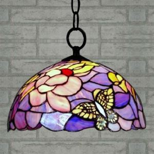 Tiffany Style Butterfly Design 12 Inch Hanging Pendant in Purple and Pink Color