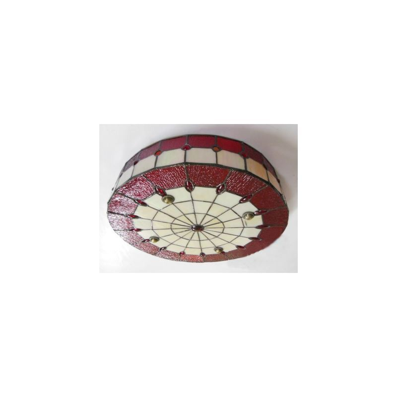 red stained glass 16 inch flush mount ceiling light in. Black Bedroom Furniture Sets. Home Design Ideas