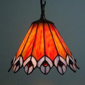 Peacock Motif Brown Stained Glass Tiffany 1-light 8 Inch Pendant Lighting
