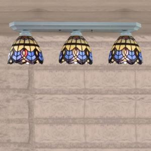 24 Inch Three-light Semi Flush Mount Ceiling Light in Tiffany Style