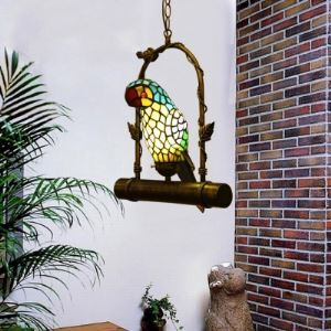 Parrot Motif 15 Inch Hanging Pendant Lighting in Tiffany Stained Glass Style
