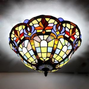 Ambient  Lighting Tiffany Style Baroque Design 16 Inch Flush Mount Ceiling Light