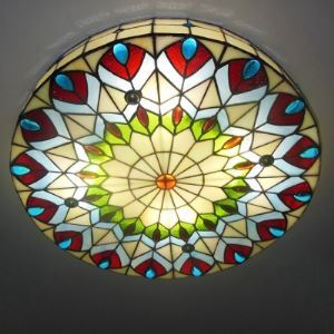 16 Inch Tiffany Ceiling Light Round Peacock Stained Glass  Flush Mount 3-light