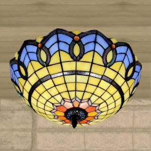 Three-light 16 Inch Flush Mount Ceiling Light  in Tiffany Bowl Style