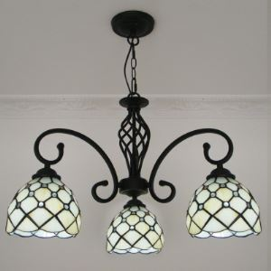 Downlight Black Finished Beige Stained Glass Tiffany 3-light Chandelier