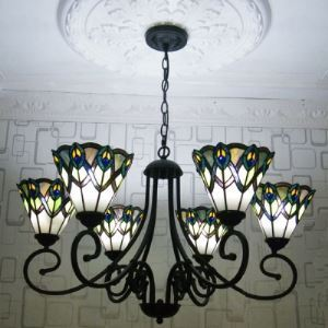 Six-light Peacock Motif 32 Inch Wide Tiffany Chandelier with Black Finish