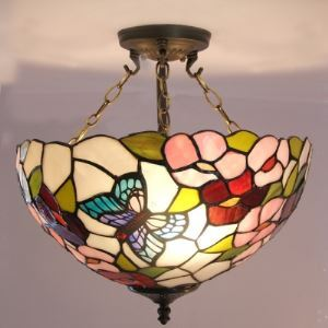 Flower and Butterfly Stained Glass Tiffany 3-light Chandelier Ceiling Light