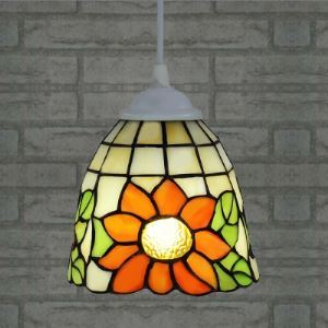 Bell Shade Sunflower Motif 6 Inch One-light Tiffany Mini Pendant