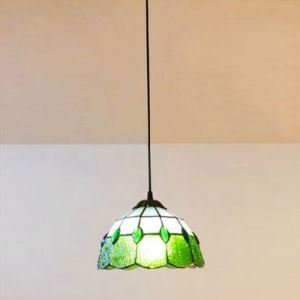 8 Inch Green Stained Glass Tiffany One-light Kitchen Hanging Pendant Light