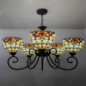 Classic Baroque Design 5-light  31 Inch Chandelier for Living Room in Tiffany Style