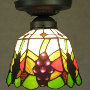 Nature 6 Inch Wide Grape Motif One-light Tiffany Flush Mount Ceiling Light