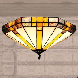 16 Inch Geometric Stained Glass Tiffany Three-light Flush Mount Ceiling Light