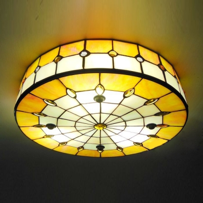 Round Shade 16 Inch Yellow Stained Glass Tiffany 3 Light